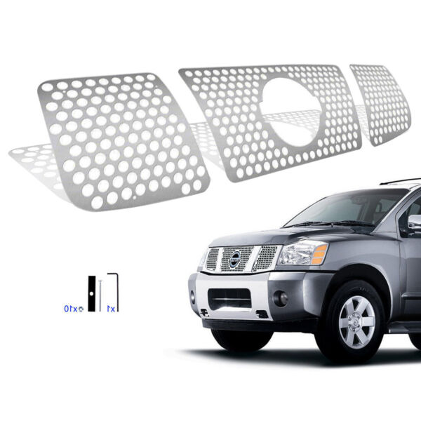 Fits 2004 2007 Nissan Armada Titan Stainless Round Laser Cut Grille Sheet Grill