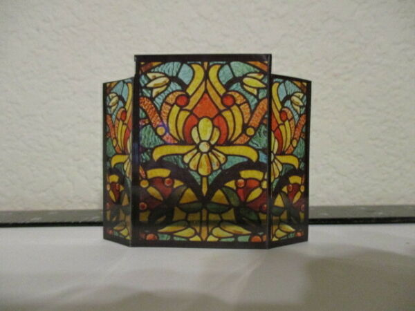 Dollhouse miniature acetate stained glass fire screen for 1:12 scale # 11