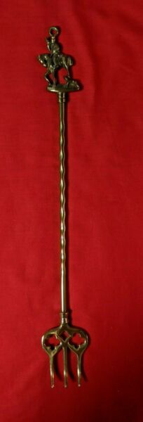 Vintage Fireplace Brass Toasting Fork Horse Mounted Horn Blower 18 1 4quot;