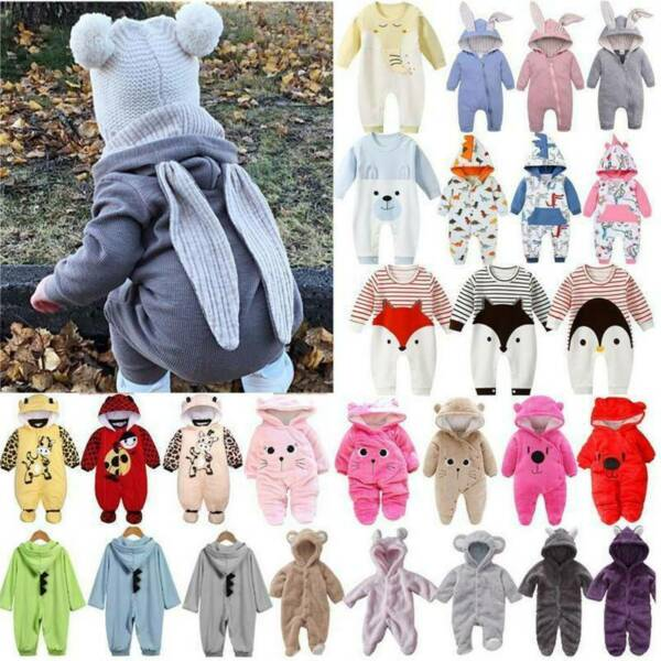 Newborn Baby Boy Girl Hooded Jumpsuit Romper Playsuit Warm Fleece Clothes Outfit