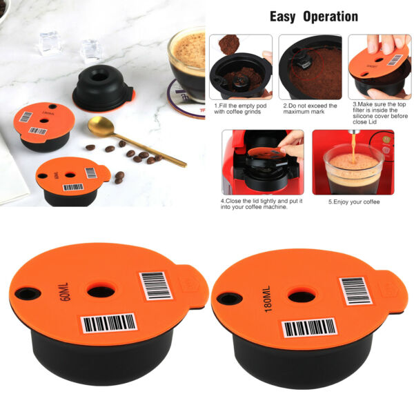 Reusable Coffee Capsule Pod with Silicone Lid for Bosch Tassimo Coffee Maker