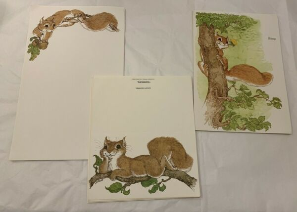 VTG Saucy Squirrel Stationary Lot of 34 Notecards Paper Fold Over Notes EX $11.99