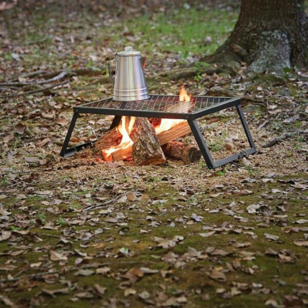 Camping Cooking Stove 24quot; x 16 Over Fire Metal Grill Grate Surface Folding Legs