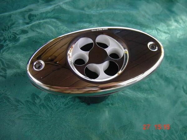 SEA RAY WHALER FLUSH BOAT DUAL HORN STAINLESS COVER W NEW SCREWS 5quot; ON CENTER