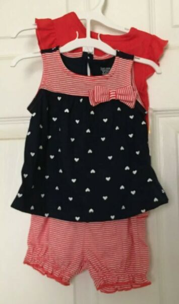 NEW Carters Baby Girls 3 Months Outfits One Piece Patriotic Shorts Shirt
