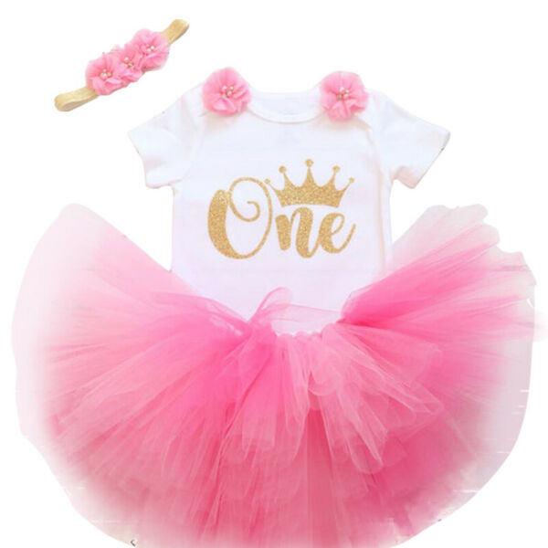Baby Girls 1st First Birthday Cake Smash Outfits Sets One Year Tutu Dress