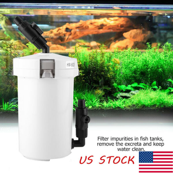 Aquarium Fish Tank External Canister Filter Outside Table Top Pre Filter HW 603B $27.99