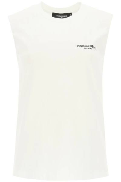 NEW Dsquared2 top with logo print S75GD0183 S23009 White AUTHENTIC NWT $260.00