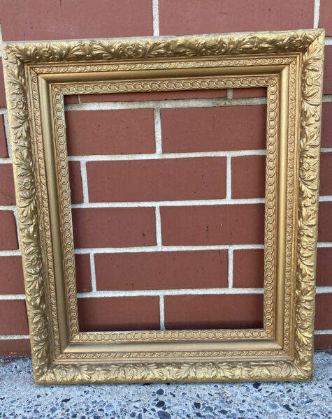 Antique Ornate Large Wood and Gesso Gold Picture Frame 20 x 16quot; ID