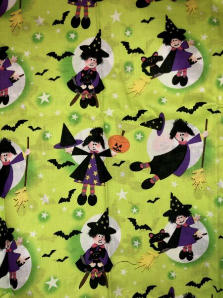 1 Yard Halloween Vintage Style Witch Star Cat Cotton Hancock Fabric Bat Green
