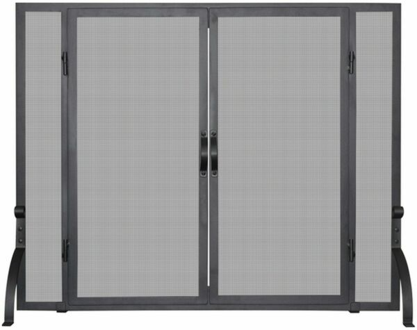Single Panel Black Wrought Iron Screen with Doors Large
