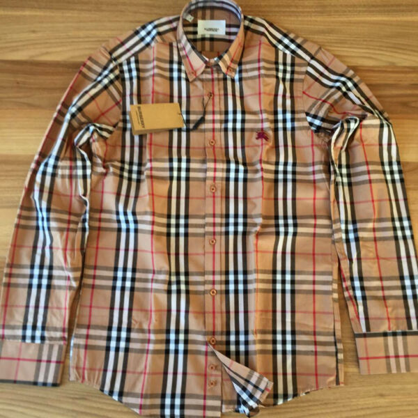 BURBERRY LONG SLEEVE BEIGE COLOR COTTON BUTTON DOWN MEN#x27;S CASUAL SHIRT $79.00