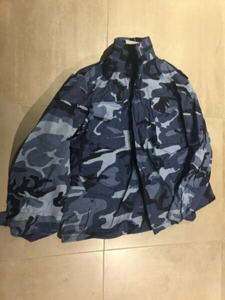 alpha m65 jacket blue camouflage large new old stock 1990#x27;s us made