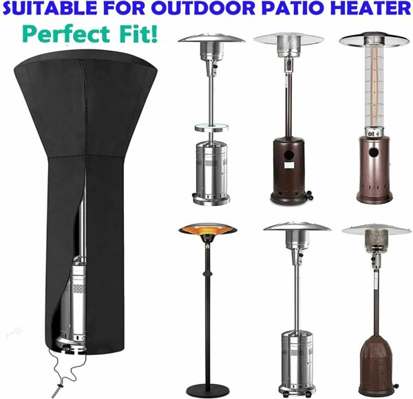 Patio Heater Cover Waterproof with Zipper Standup Outdoor Round Oxford Fabric