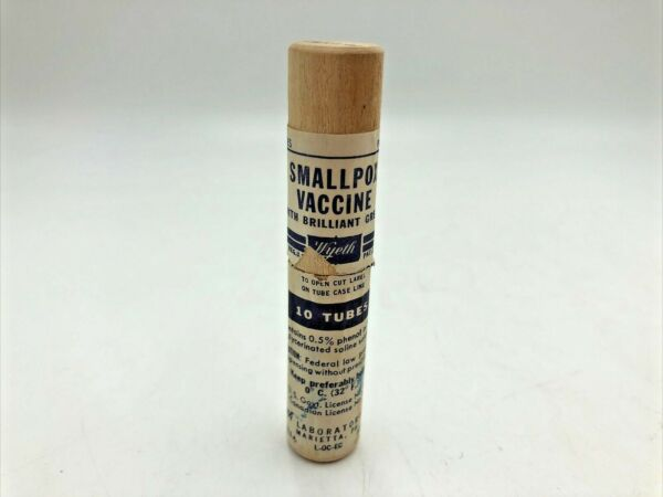 1950s Smallpox Vaccine Empty USED Wood Tube with Label Date Stamped #1 $97.50
