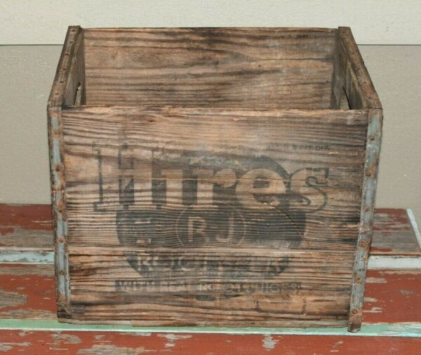 Rare HIRES ROOT BEER Wooden Crate 15x12x11 Inches Great Graphics