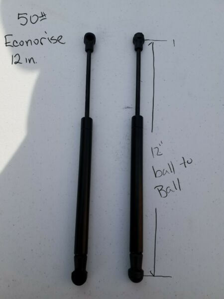 2 Gas Shocks Spring Prop Strut 12quot; extended 50 LB Econolift made in USA