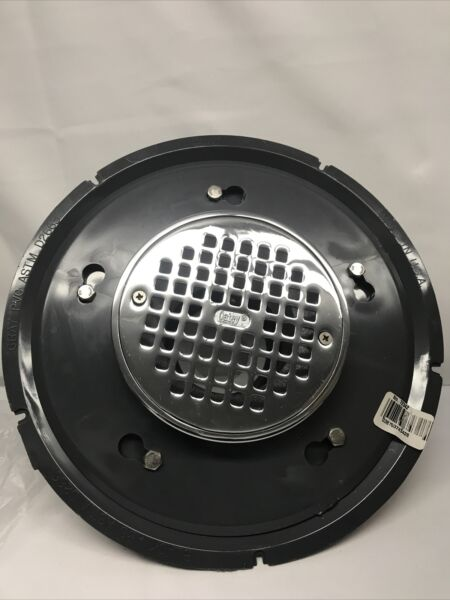 Oatey 72342 2 In PVC Commercial Drain With 6 In Chrome Round Grate Open Box