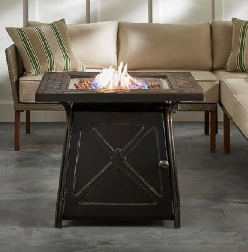 Patio Table Fire Pit Heater Gas Burning Rustic Backyard Antique Table Fireplace