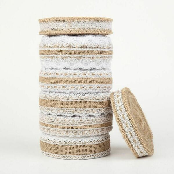 Natural Jutes Burlap Rolls Vintage Rustic Hessian Ribbons Lace Party Accessories