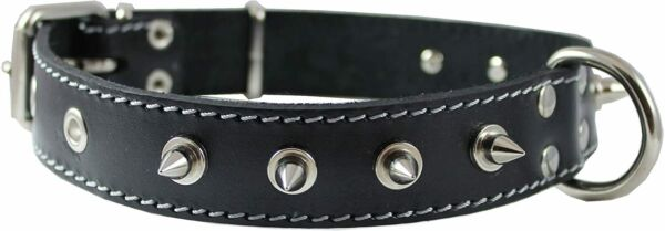 Genuine Leather Spiked Dog Collar Spikes 1.25quot; Wide. Fits 15.5quot; 20quot; Neck Black $17.95