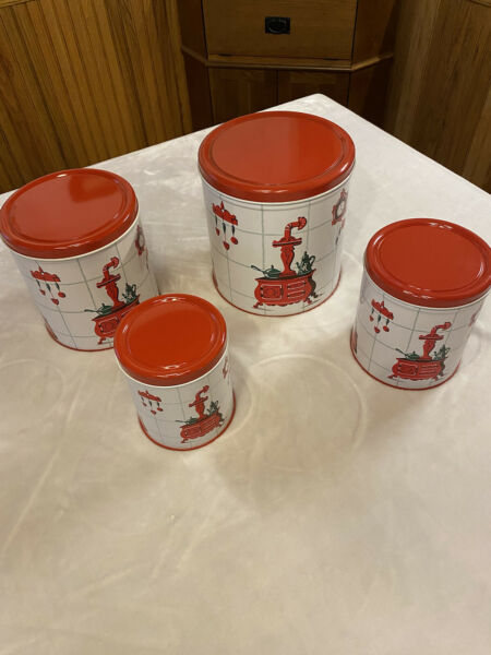 Vintage 4 PC Metal Nesting Canister Set Red Kitchen Antiques EXCELLENT COND