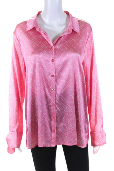 As by Df Womens La Dolce Vita Silk Blouse Pink Icing Size Large