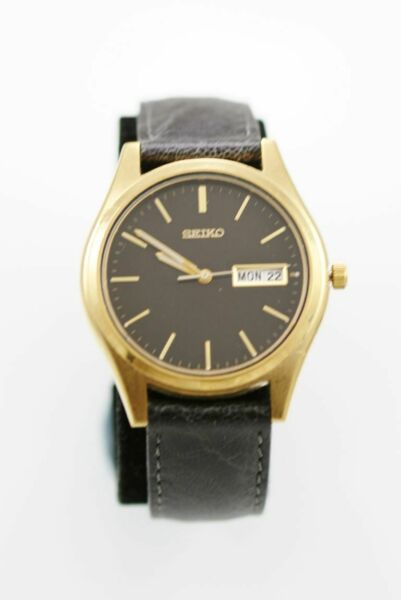 Seiko Mens Watch Stainless Steel Gold Leather Black Day Date Water Res Quartz