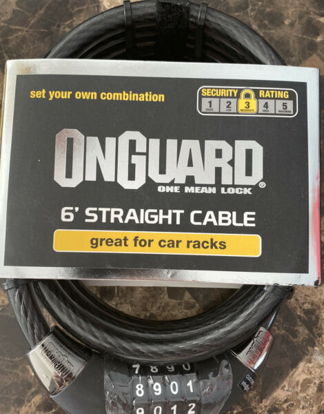 OnGuard Combination Cable Lock 6 Foot Straight Cable Car Racks Bikes Trailer NEW $19.99