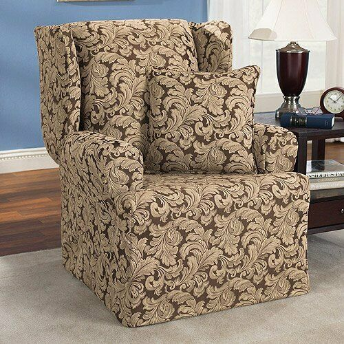 Sure fit Furniture Covers Basics Scroll Brown Wing Chair slipcover $38.88