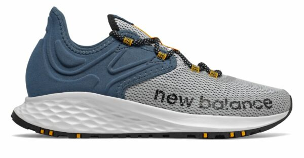 New Balance Men#x27;s Fresh Foam Roav Trail Shoes White with Blue amp; Yellow