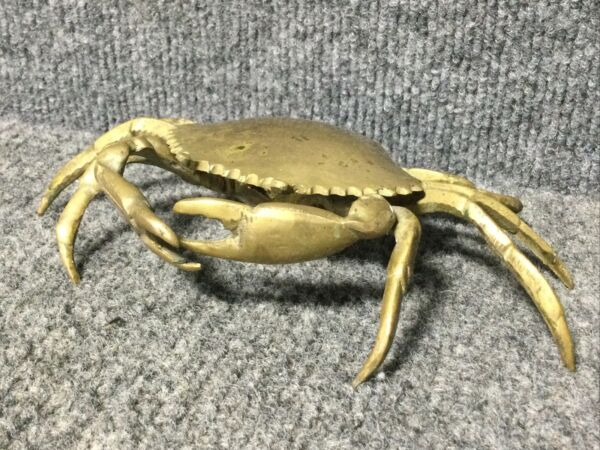 Vintage Brass Crab Hinged Trinket Box or Ashtray 7.25quot; x 4quot; #1