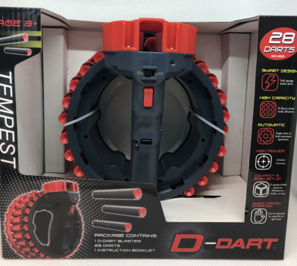 D Dart TEMPEST RAPID FIRE 28 darts Automatic Blaster Black Red FREE SHIPPING
