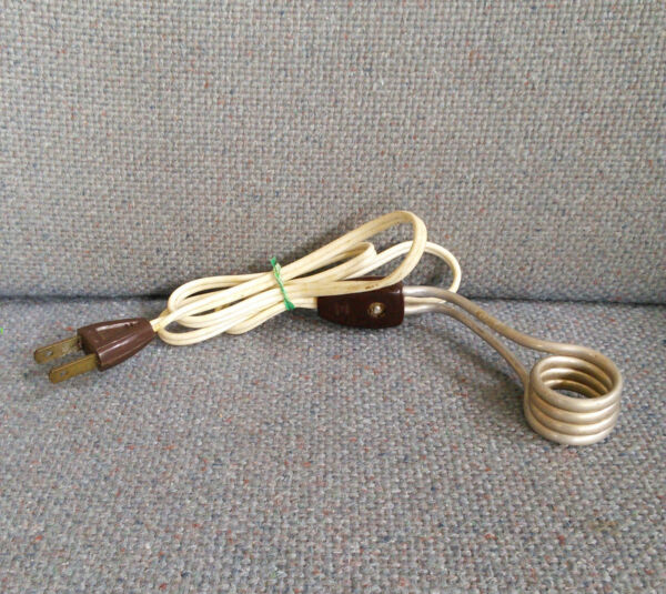 VINTAGE INSTANT IMMERSION HEATER SOUP TEA COFFEE Brown * $5.99