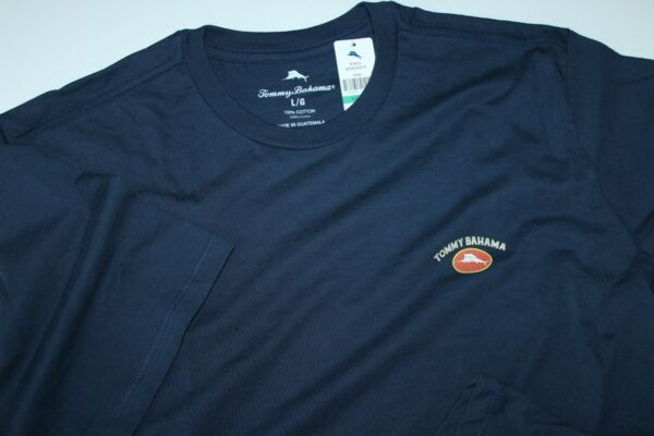 Tommy Bahama T Tee Shirt Marlin Logo Solid Navy Blue Crew Neck Extra Large XL $14.95
