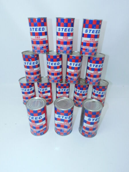 15 Vintage Can of Steed Gas Conditioner Advertising NOS SEALED CANS WITH BOX $69.95