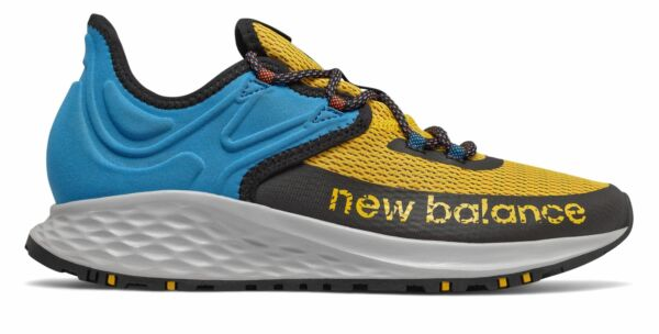 New Balance Men#x27;s Fresh Foam Roav Trail Shoes Gold with Blue amp; Black