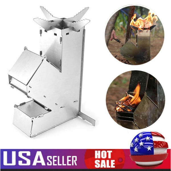 Detachable Camping Stove Stainless Steel Rocket Stove Outdoor Wood Burners USA $27.94