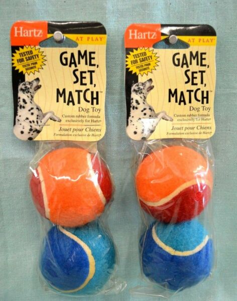 2X Lot = 4 Balls Total HARTZ Dog TOY Rubber Tennis BALLS Play Blue Red ORANGE $3.89