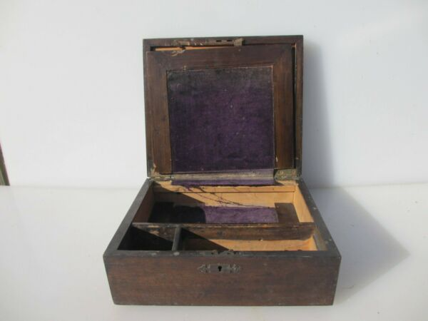 Victoria Wooden Writing Box Antique Old Crate Wood Display Drawer Vintage 10quot;W