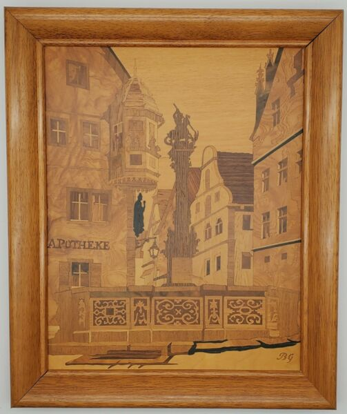 Buchschmid amp; Gretaux Marquetry Wood Inlay Picture St. George#x27;s Fountain Germany