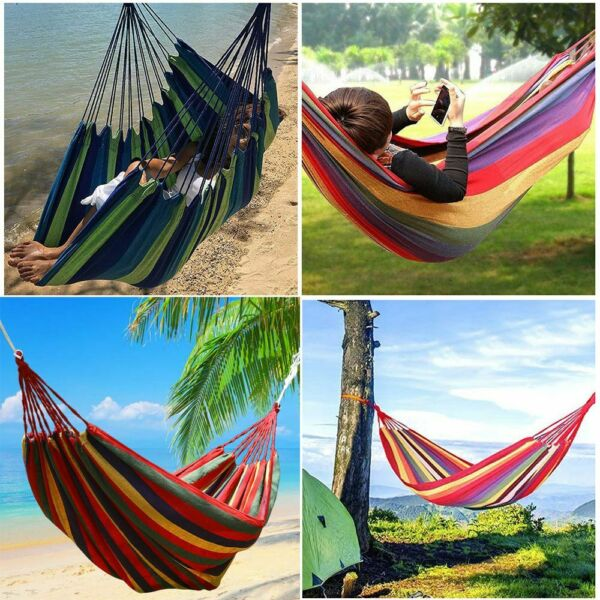 US Double 2 Person Rope Hanging Hammock Swing Camping Canvas Bed w Strap $18.04