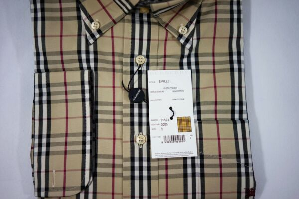New Authentic Burberry Men#x27;s Classic Plaid Shirt Size XL $195.00