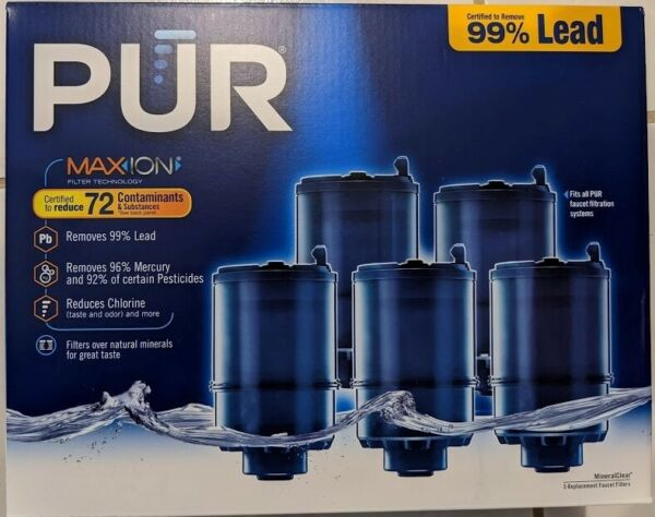 PUR MAXION Faucet Mount MineralClear Replacement Filter 5 Pk New Sealed $49.98