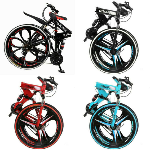 26In Folding Mountain Bike 21 Speed Bicycle Full Suspension Disc Brakes MTB Bike $199.99