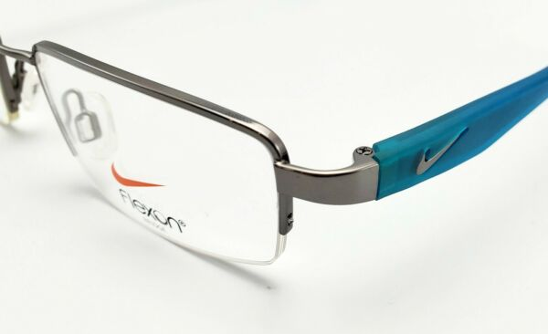 NEW NIKE WITH FLEXON 4634 037 SILVER BLUE AUTHENTIC EYEGLASSES FRAMES RX 49 17