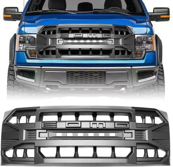 Matte Black Front Armor Grille w Off Road Lights For Ford F150 2009 2014 ABS