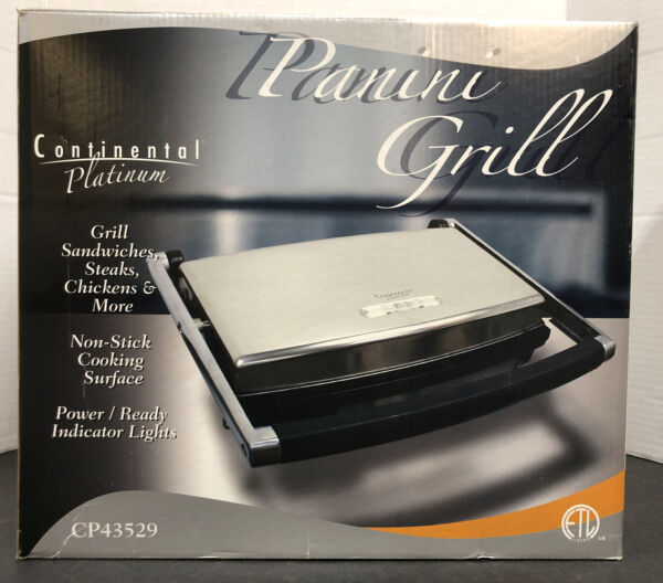 Continental Electric Panini Grill 2 Slice Non Stick stainless grill with adjust