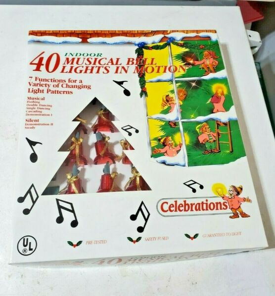 Vintage Celebrations 40 Musical Bell Lights In Motion 21 Songs 7 Functions New $64.99