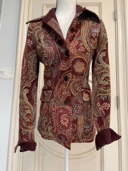 Etro Vintage Paisley Long Jacket Coat Sz 40 Italy Form Fitting Multi Color $99.00